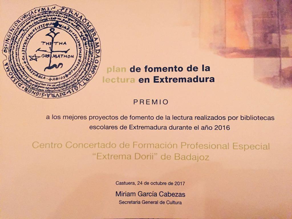 2º Premio. Mejor proyecto de fomento a la lectura.